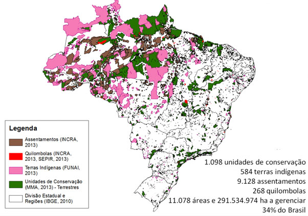 The many types of reservations take 34 percent of the land of Brazil. Brown: Land taken from unproductive owners and given to the poor as part of agrarian reform. Red: Quilombos. Pink: Indian Reservations. Green: Forest and jungle reserves.
