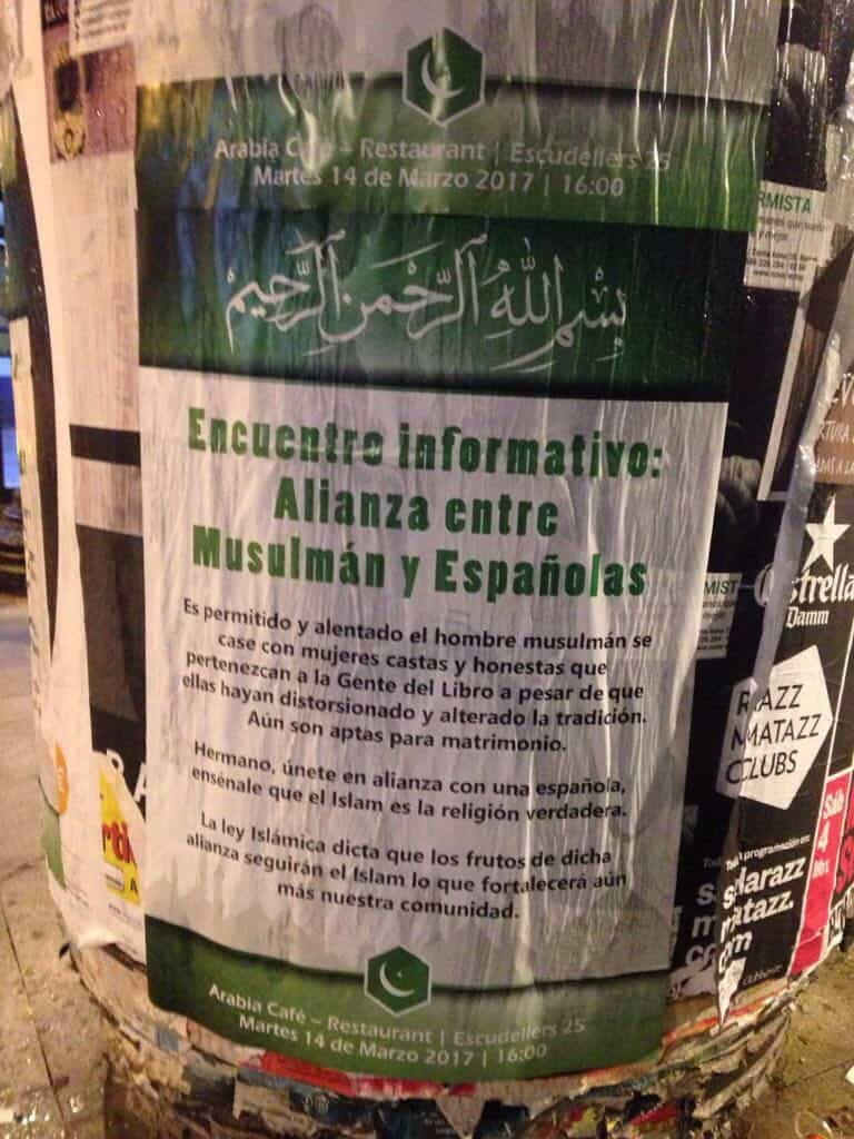 Islamist Poster in Barcelona, Spain